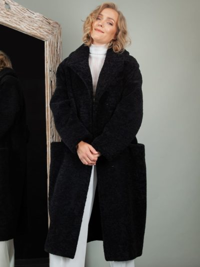 black oversize sheepskin fur teddy coat for women