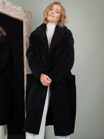 black oversize sheepskin fur teddy coat for women