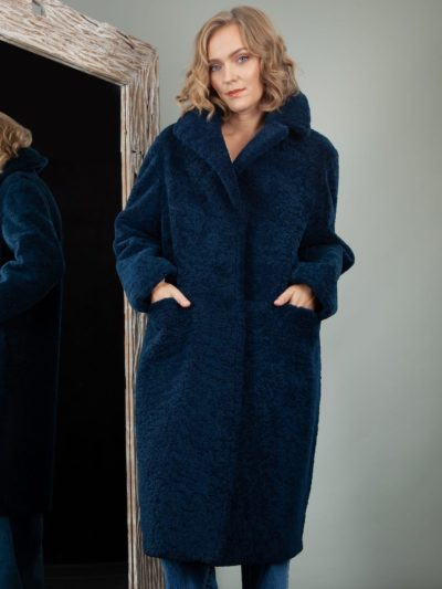 blue oversize sheepskin teddy bear coat for women
