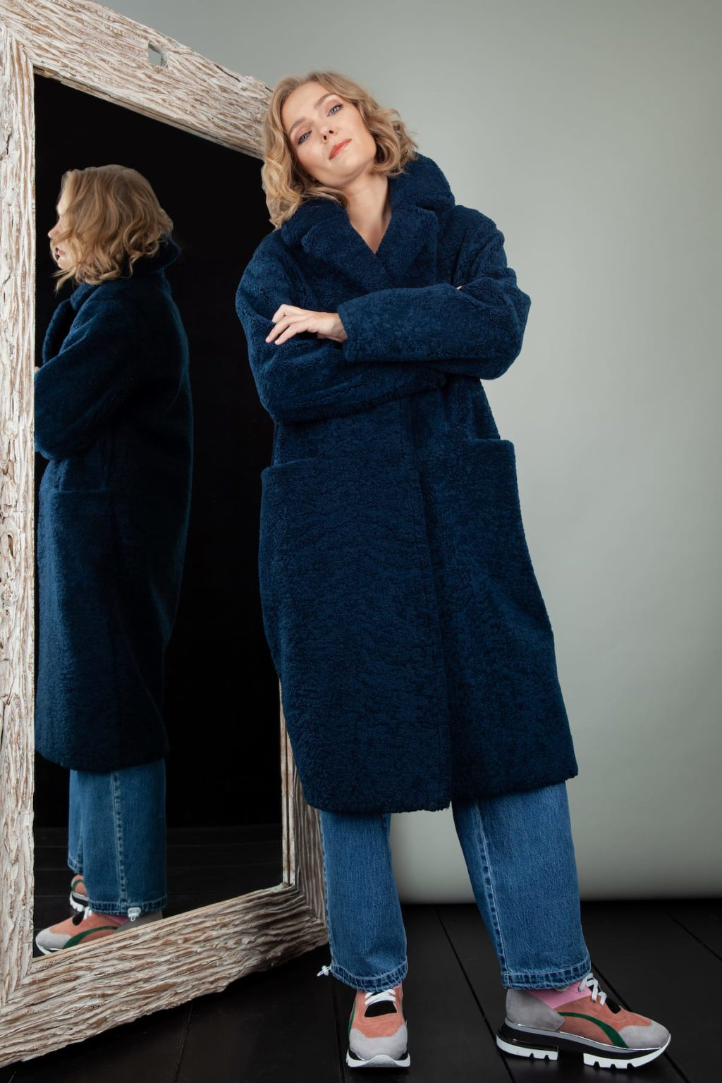 blue oversize sheepskin teddy bear coat for women
