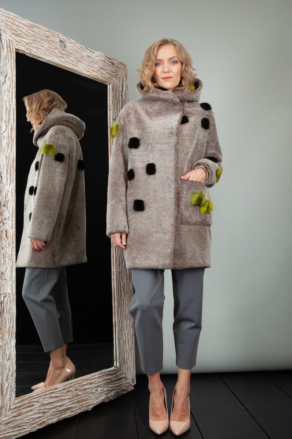 brown sheepskin hooded coat with mink fur decoration