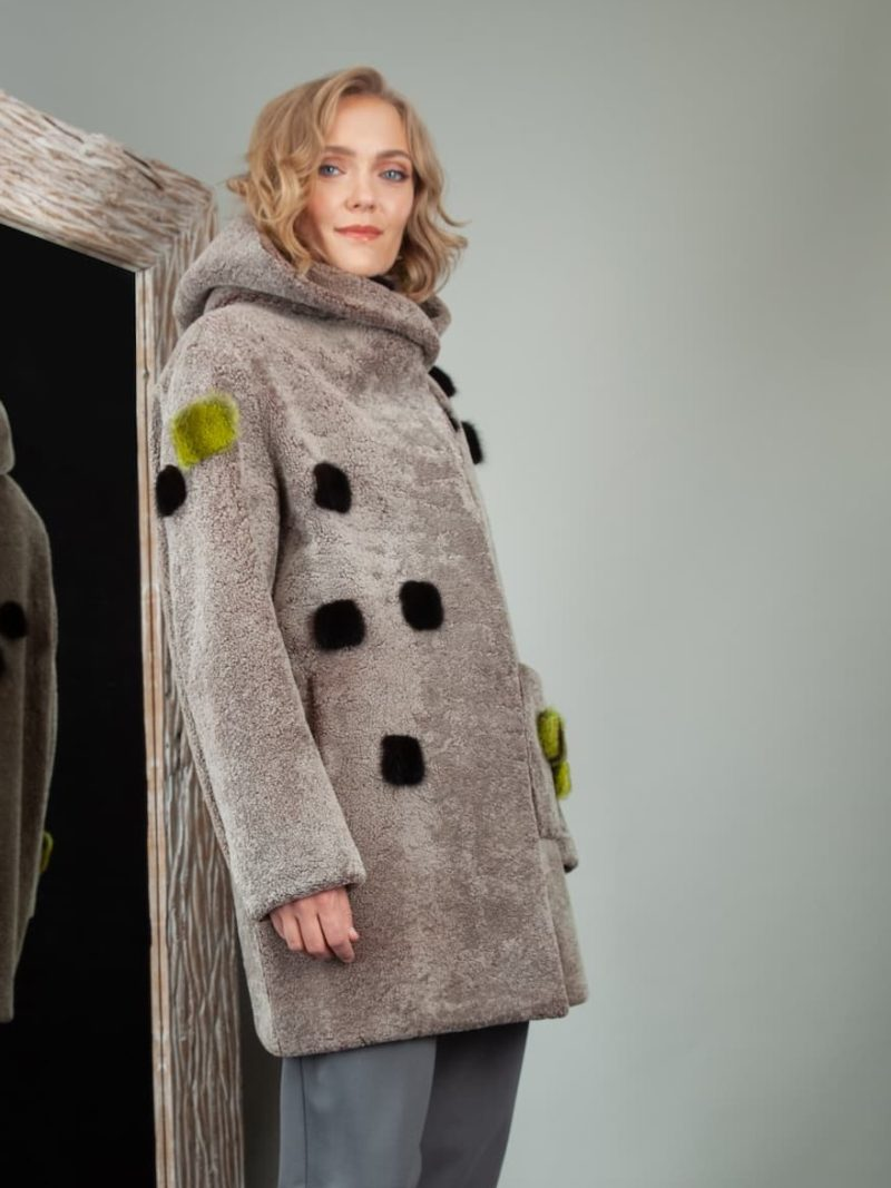 brown sheepskin hooded coat with mink fur decoration