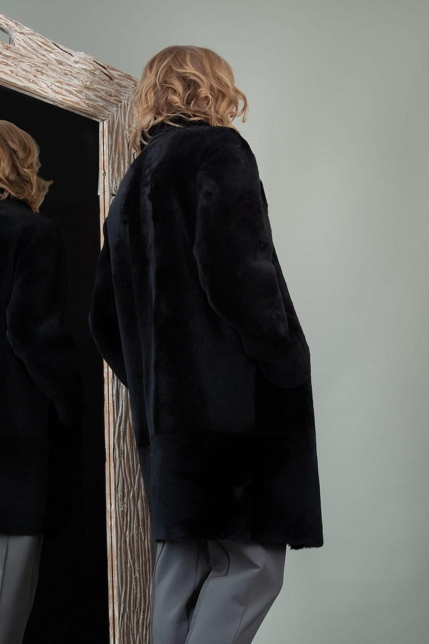 double-sided black fur lined merino sheepskin fur jacket for women