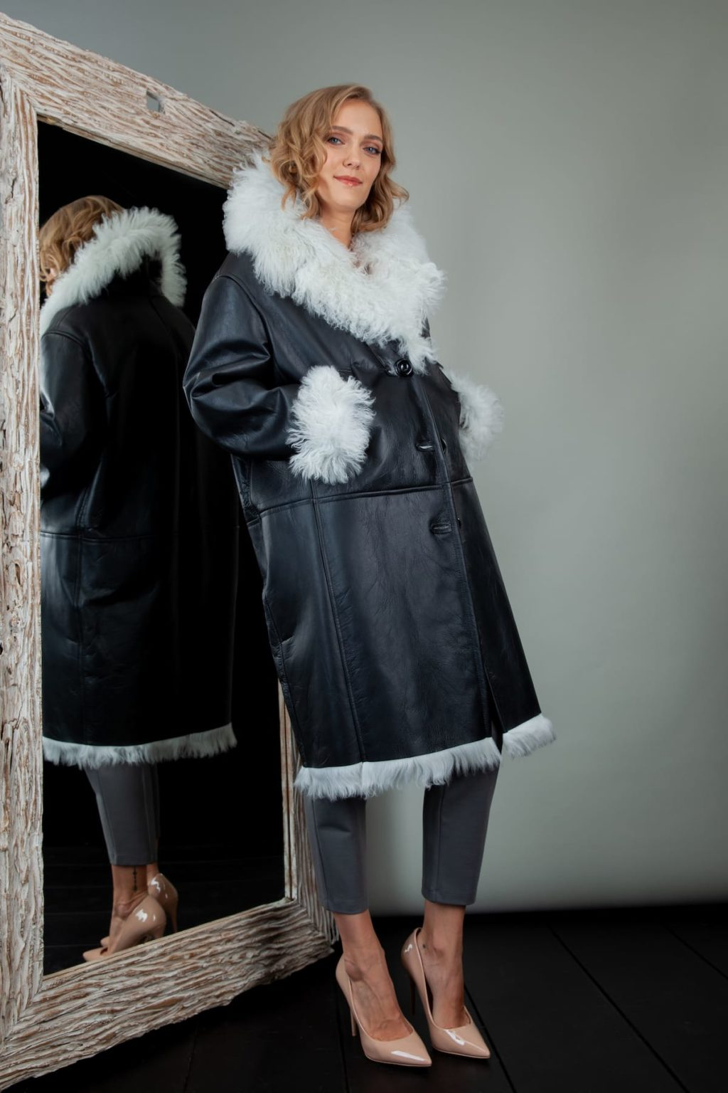 fur-lined black leather white hair sheepskin fur coat