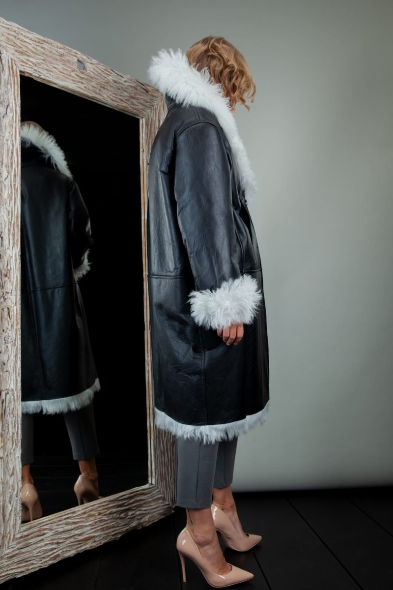 fur-lined black leather white hair sheepskin fur coat