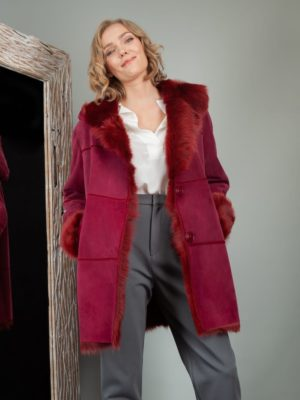 fur lined red sheepskin fur hooded coat for women