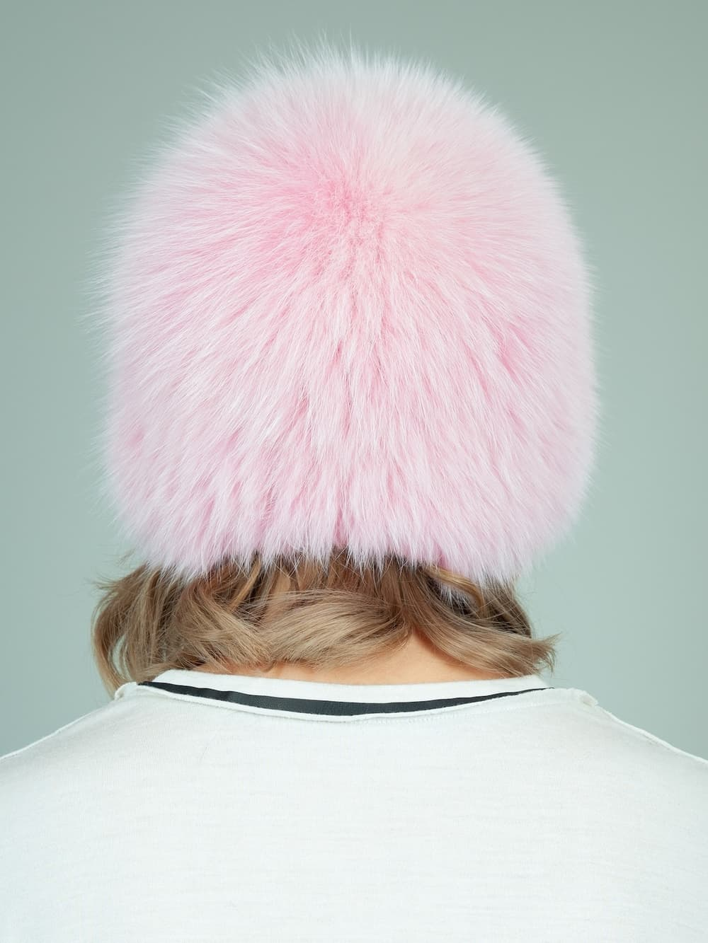 knit pink fox fur hat for women
