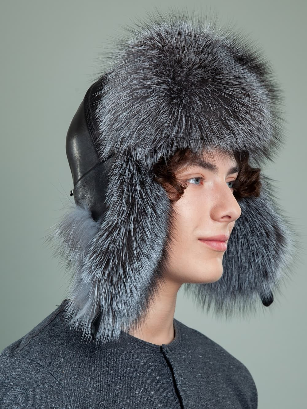 black leather and silver fox fur ushanka hat with ears for men & women