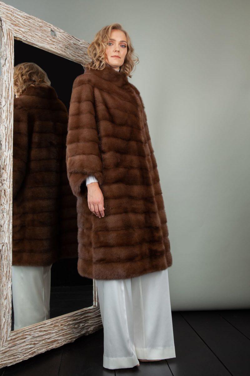 medium length brown mink fur coat for women