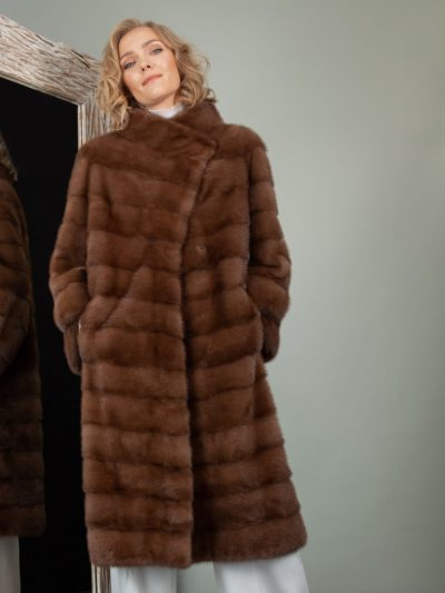 medium length brown mink fur coat for women