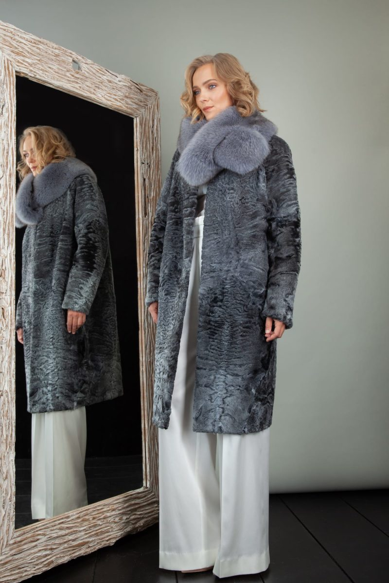 medium-length gray astrakhan karakul fur coat with detachable fox collar