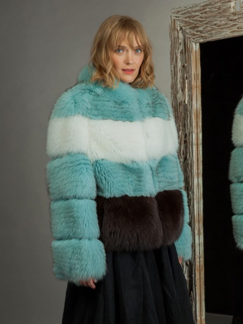 multicolor green white brown fox fur jacket for women