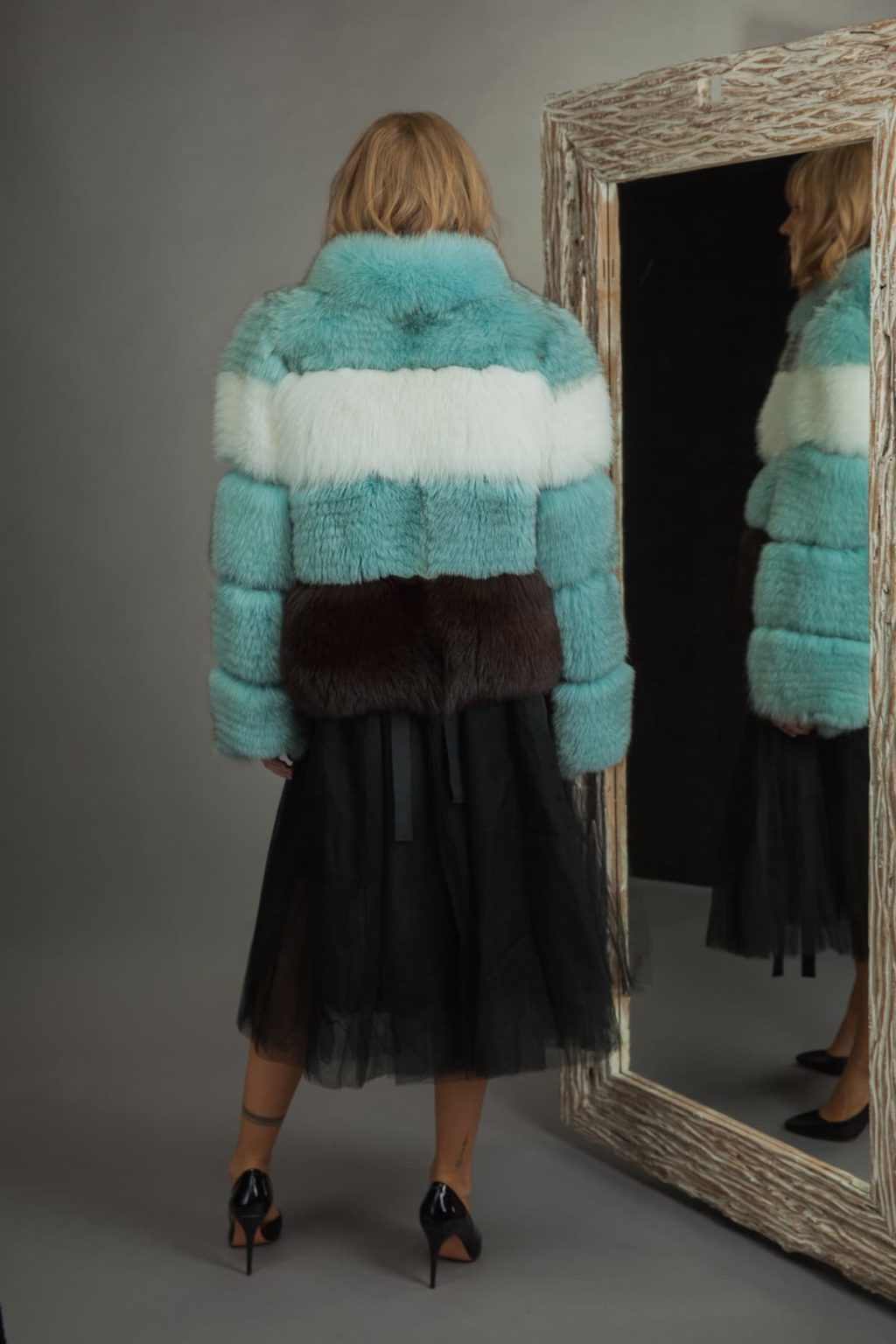 multicolor green white brown fox fur jacket for women