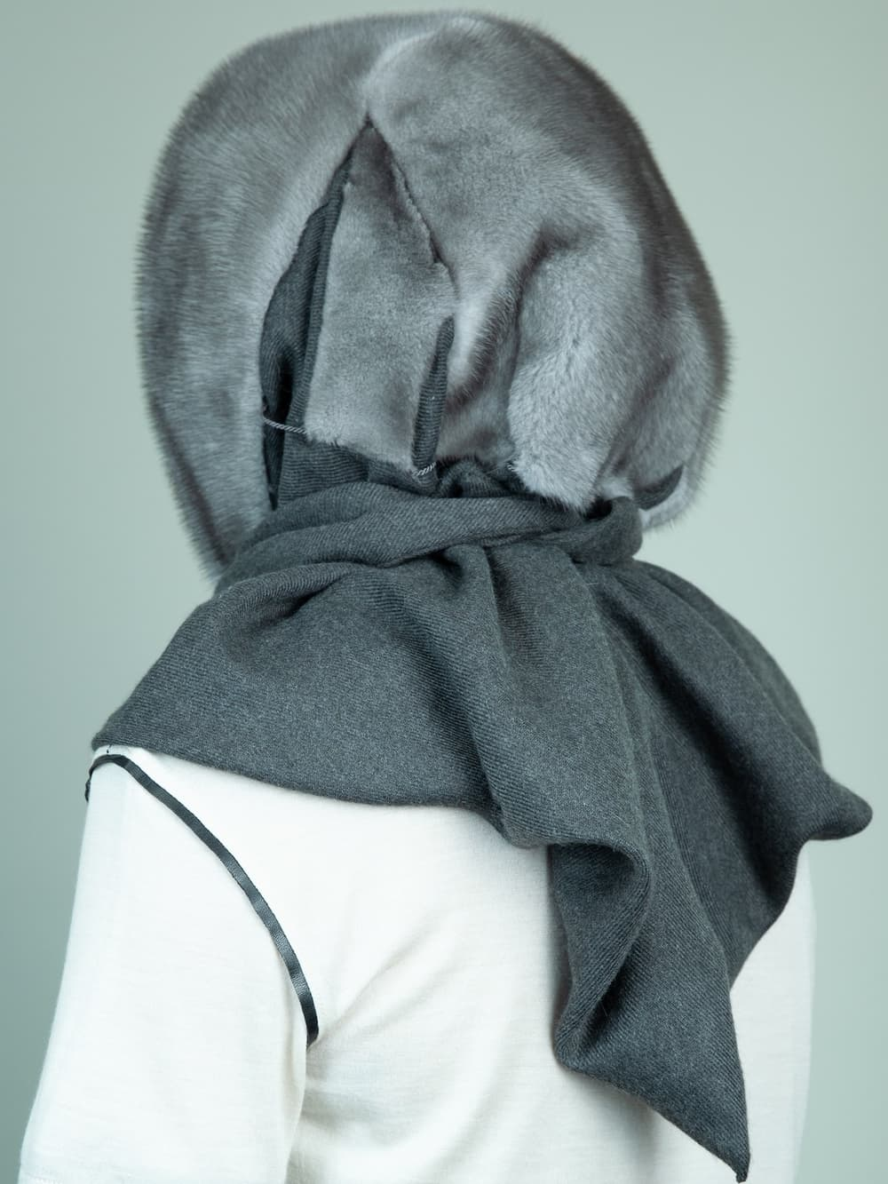 natural blue iris mink fur hooded scarf with gray cashmere lining for women