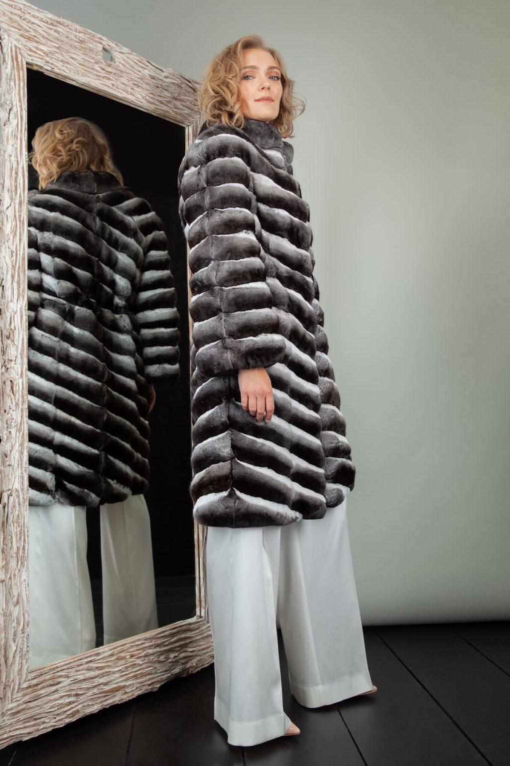 natural chinchilla fur coat