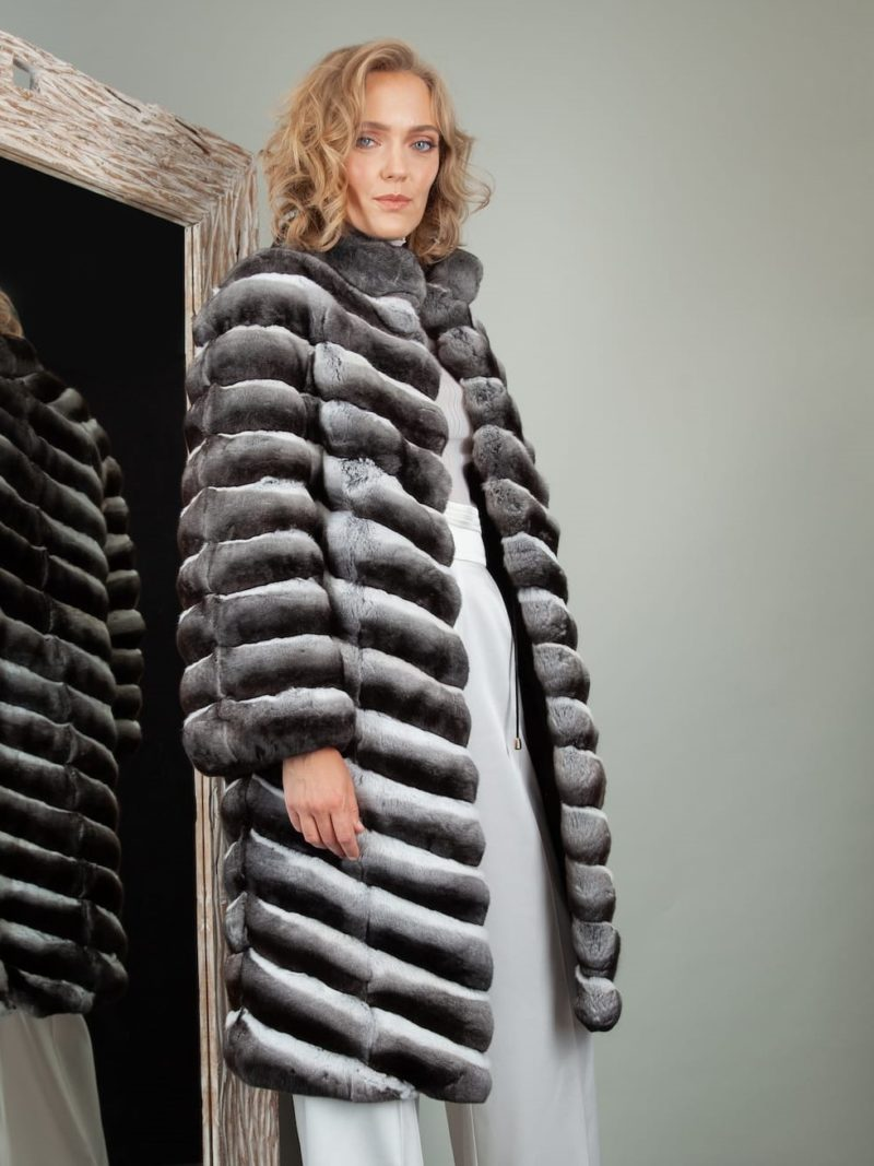 natural chinchilla fur coat