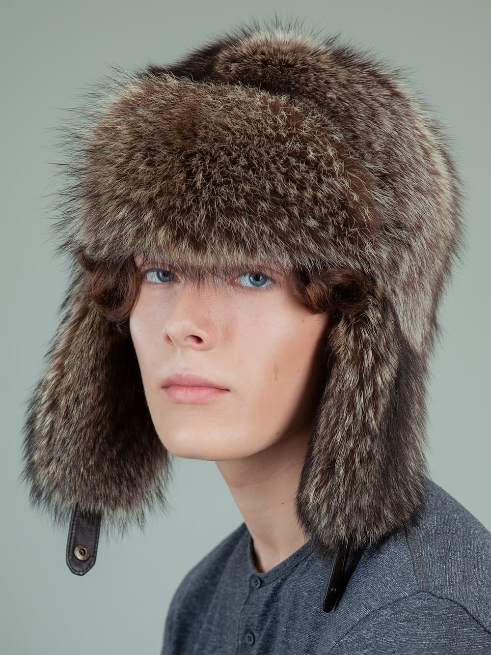 natural raccoon full fur russian hat with ears for men & women