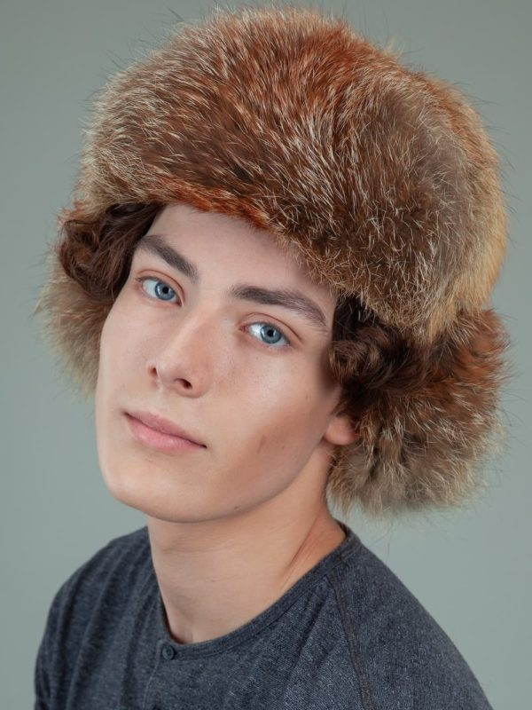 natural red fox full fur russian trapper hat with ears for men
