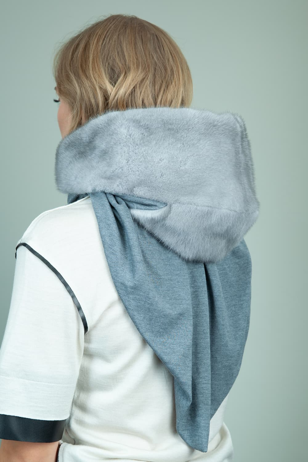 natural sapphire mink fur hooded scarf with gray cashmere lining for women