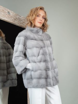 natural sapphire mink fur short jacket with 3/4 sleeves