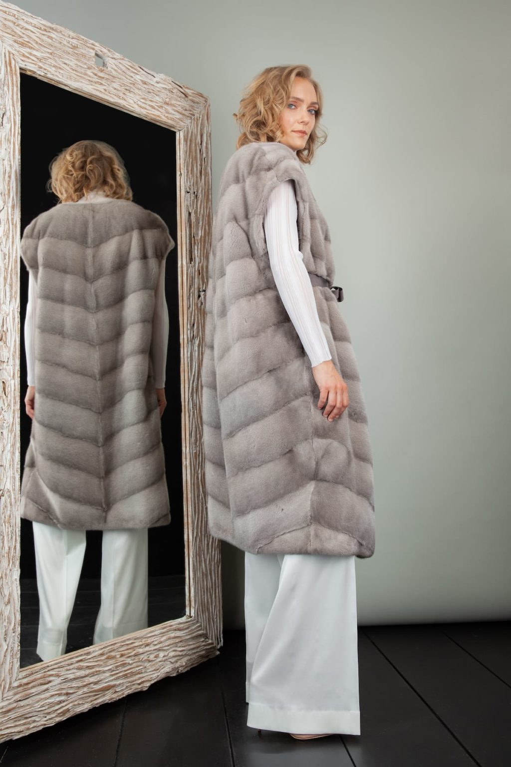 natural silver mink fur vest with belt