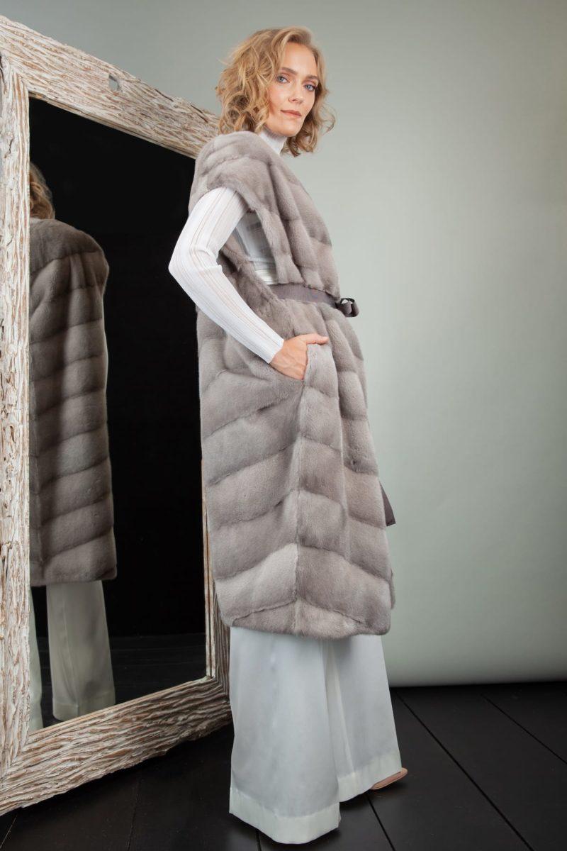 natural silver mink fur vest with belt
