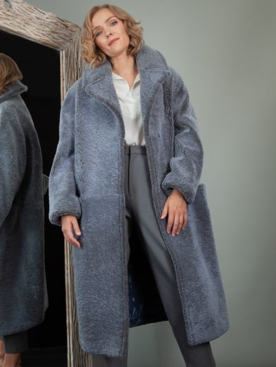 oversized light blue sheepskin teddy coat for women