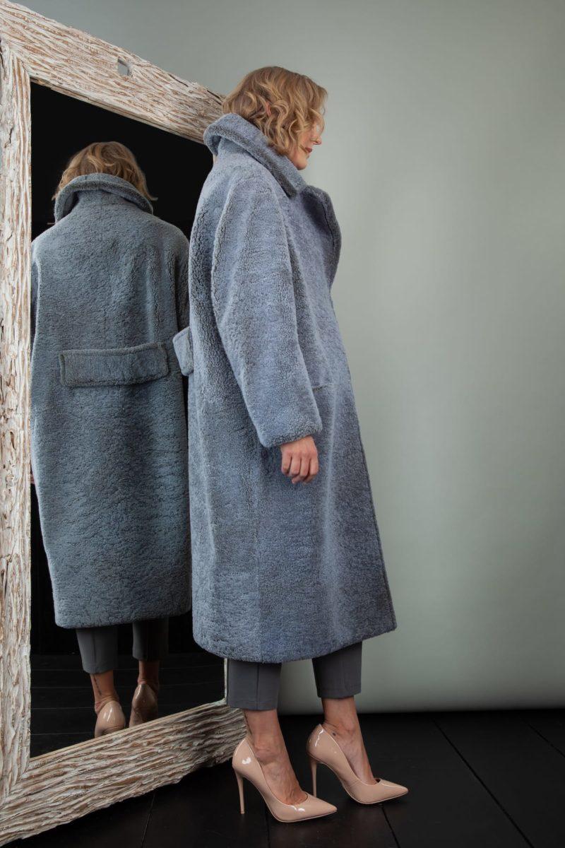 oversized light blue sheepskin teddy coat for women