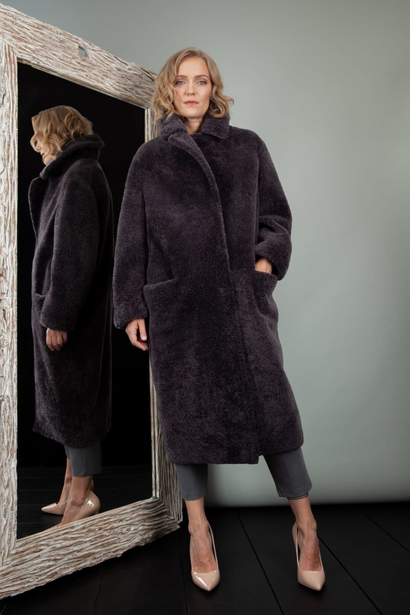 purple oversized sheepskin fur teddy coat for women