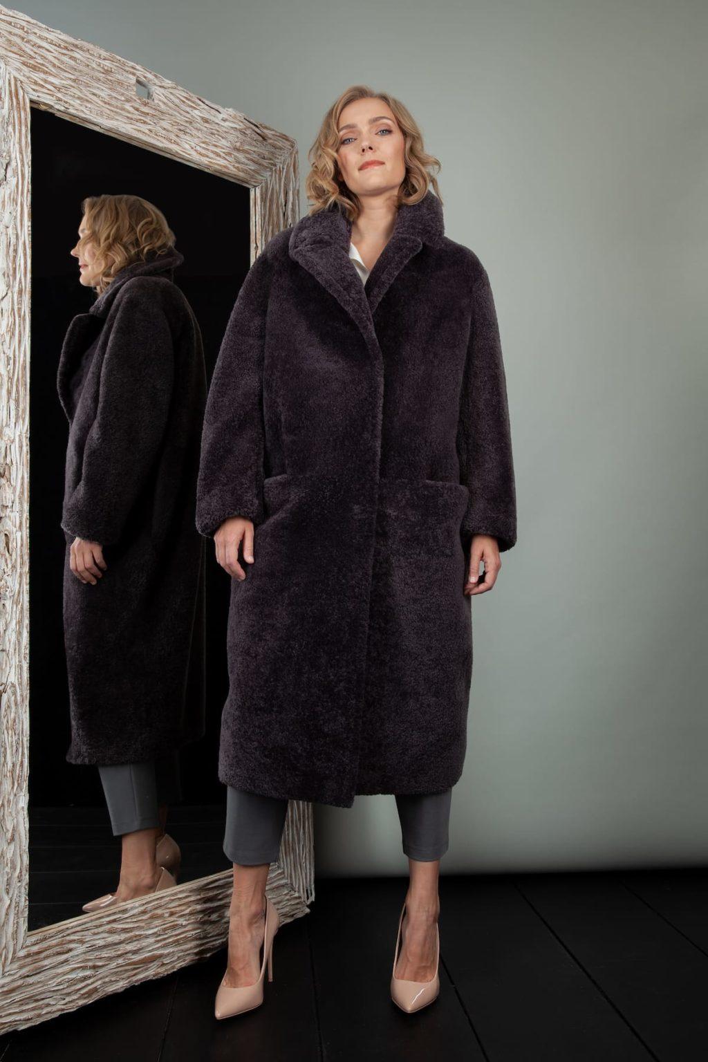 purple oversized sheepskin fur teddy coat for women