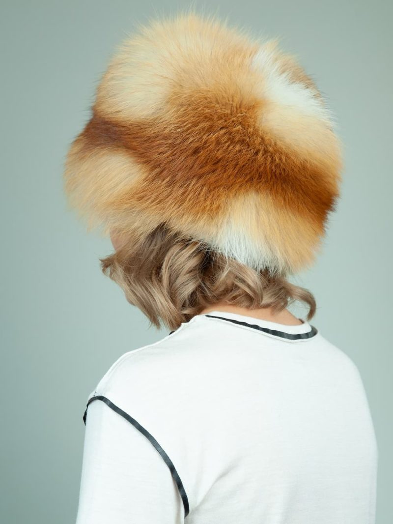 round natural red fox fur hat for women