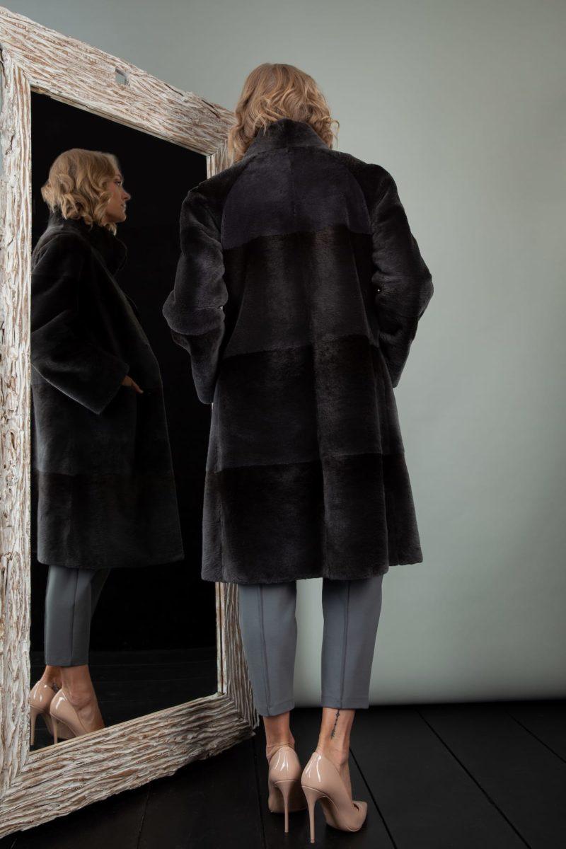 sheared black beaver fur coat for women