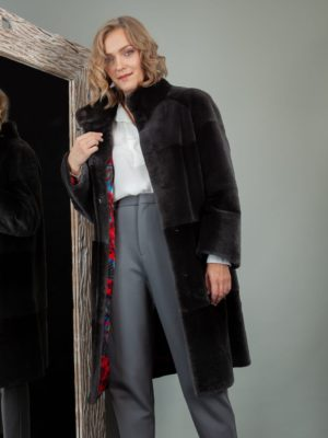 sheared black beaver fur coat for women