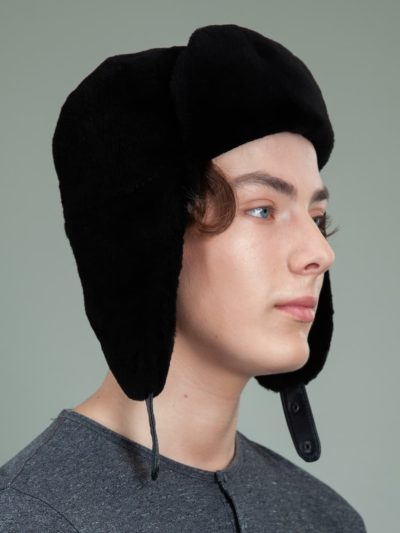 sheared black beaver full fur hat with ear flaps for men & women