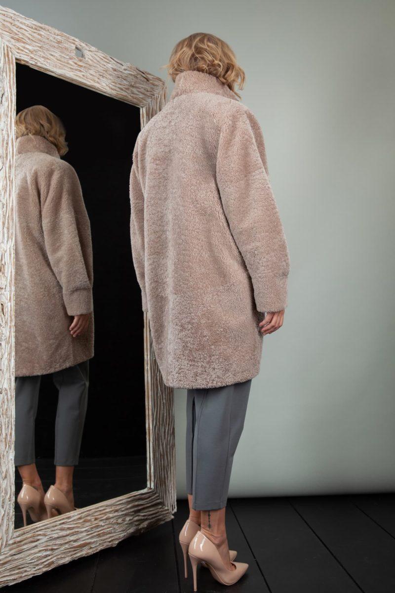 oversize short beige sheepskin coat for women