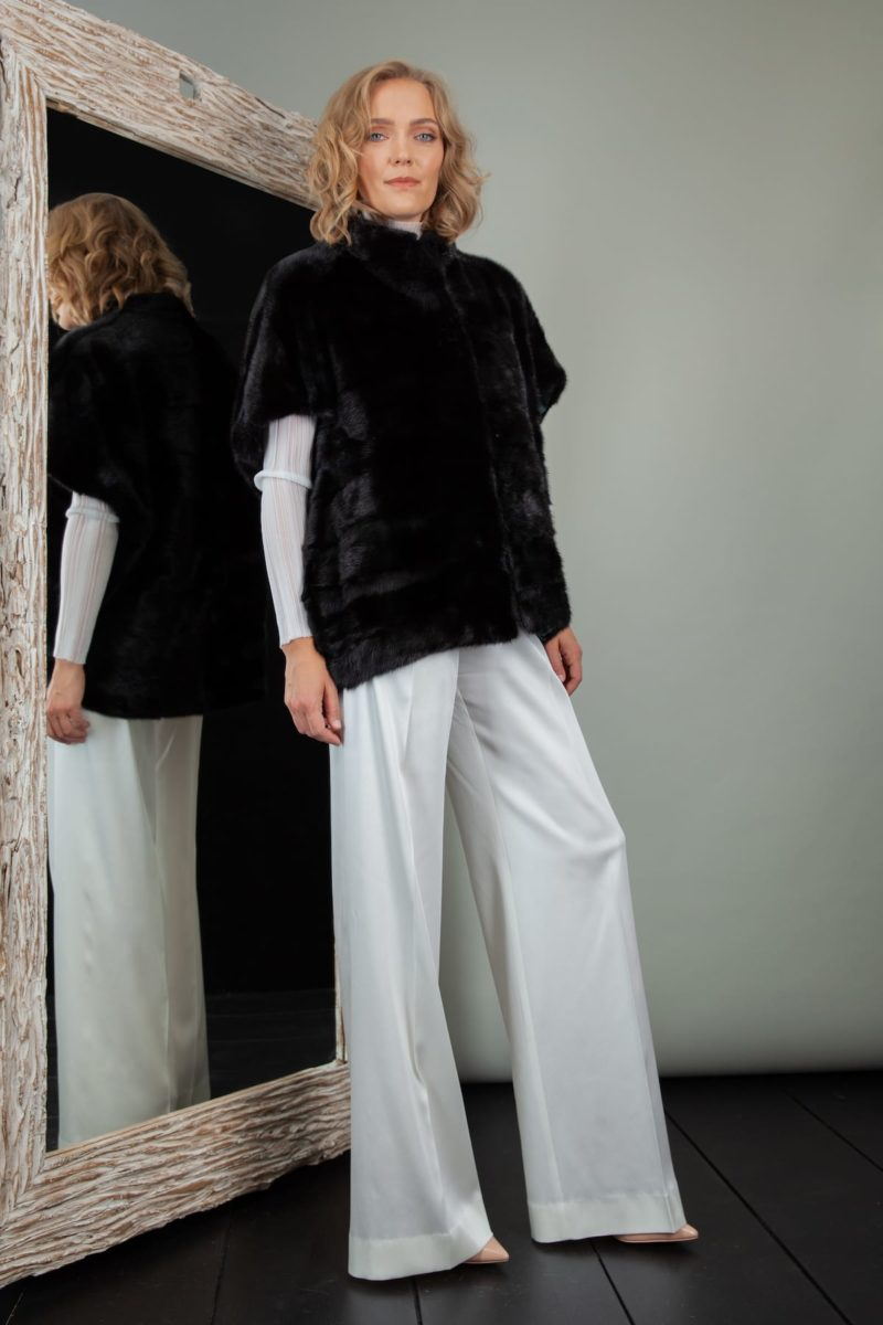 short black mink fur vest with oversize shoulders