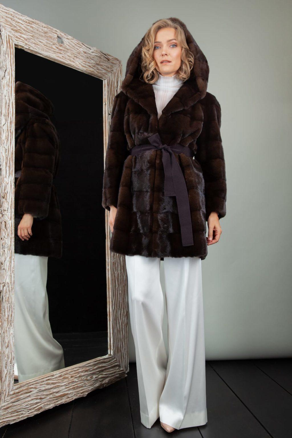 short dark brown mink fur hooded jacket with belt for women
