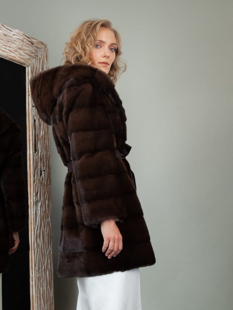 short dark brown mink fur hooded jacket with belt for women