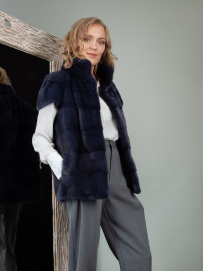 short dark blue mink fur vest gilet