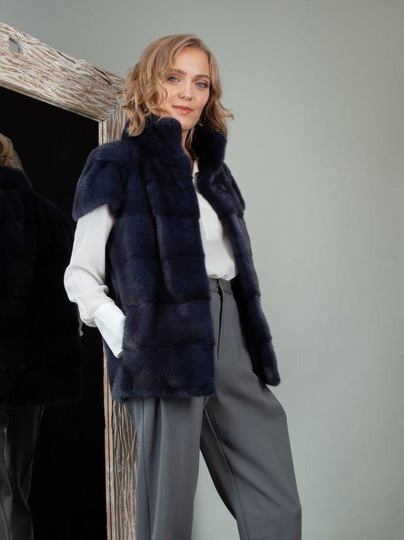 short dark blue mink fur vest gilet