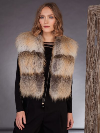 short island fox fur vest gilet for women