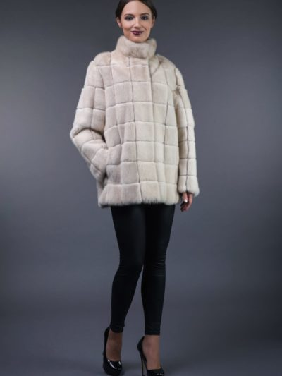 2in1 natural pearl mink fur coat-vest in squares