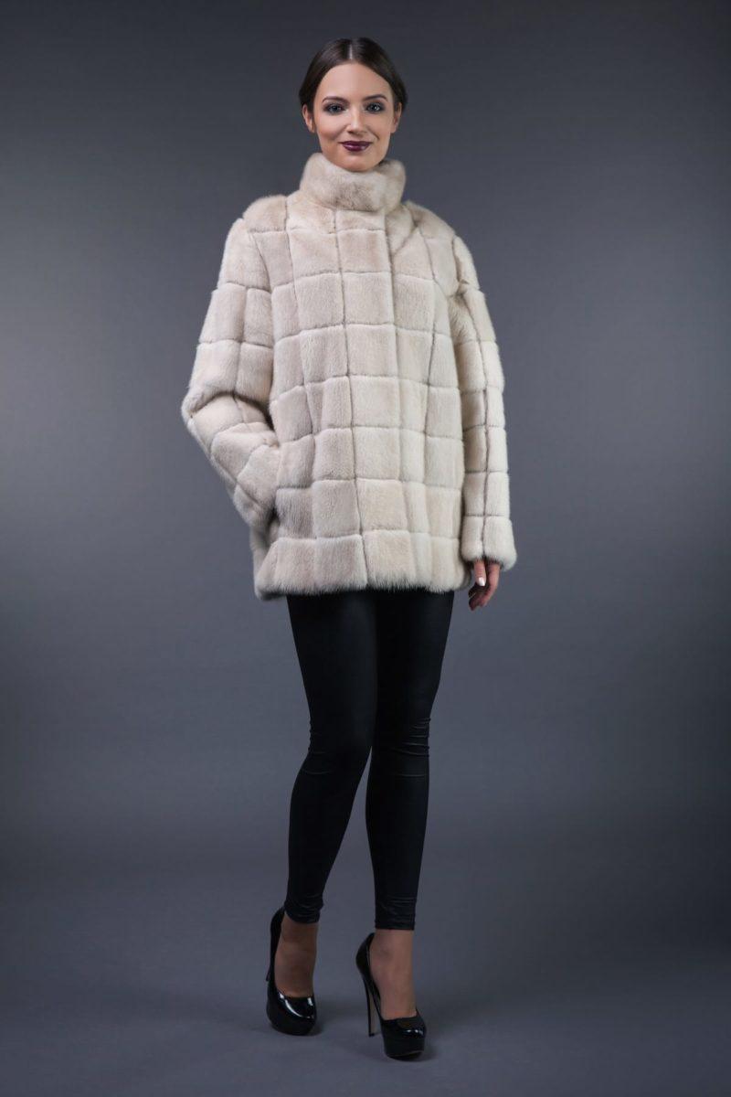 2in1 natural pearl mink fur coat-vest in squares