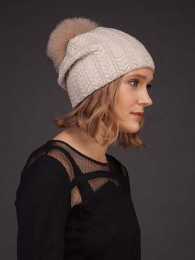 beige brown knit cashmere beanie hat with fox fur pom for women