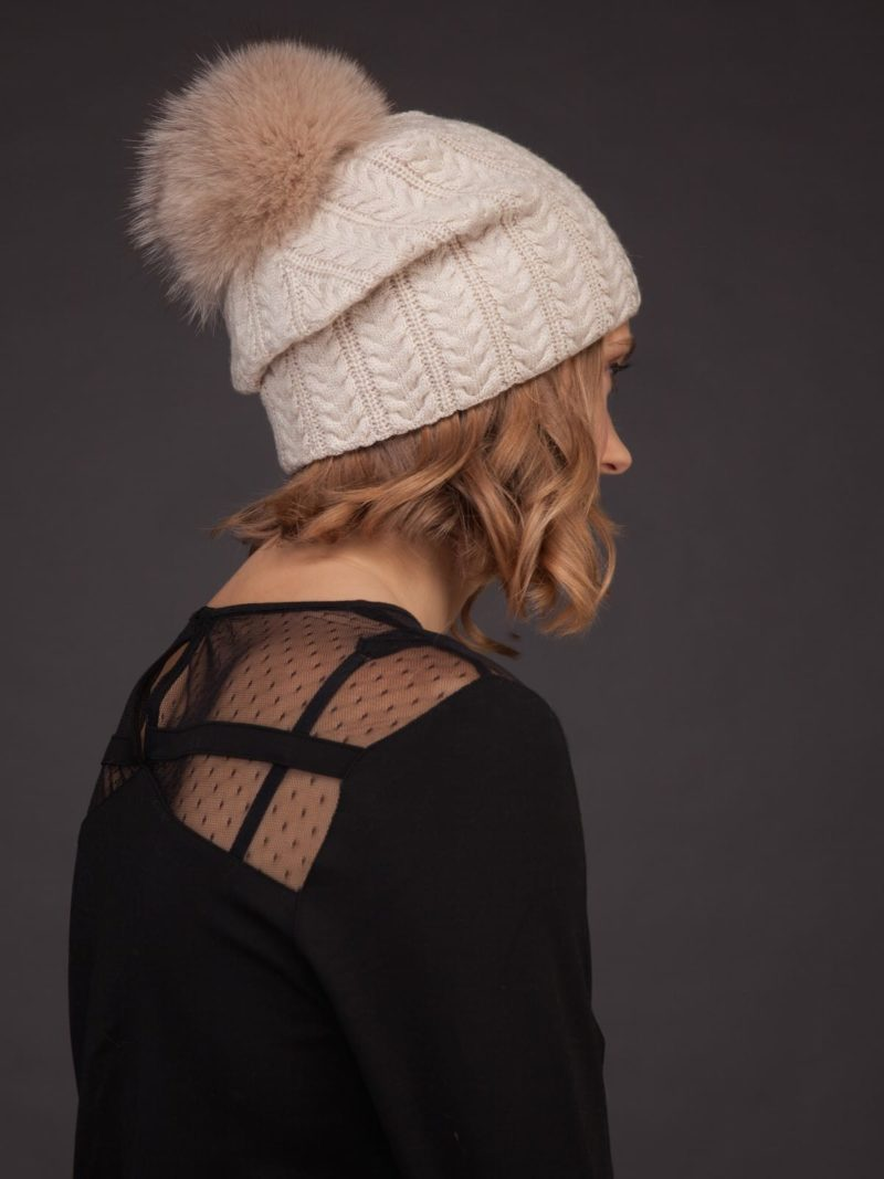 beige brown knit cashmere beanie hat with fox fur pom for women