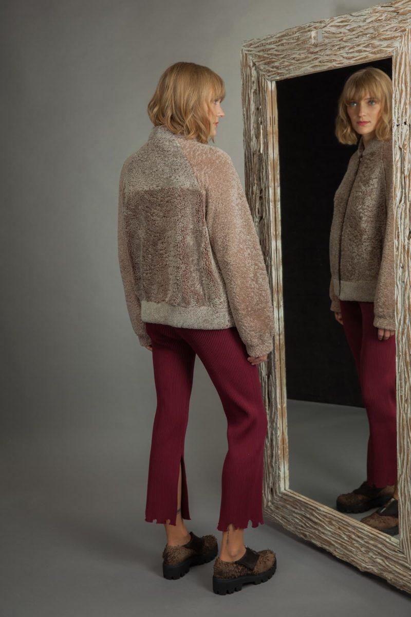 beige brown sheepskin shearling fur bomber jacket