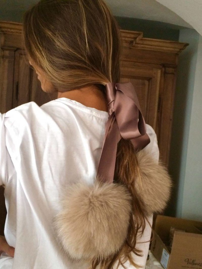 beige fox fur atlas ribbon choker