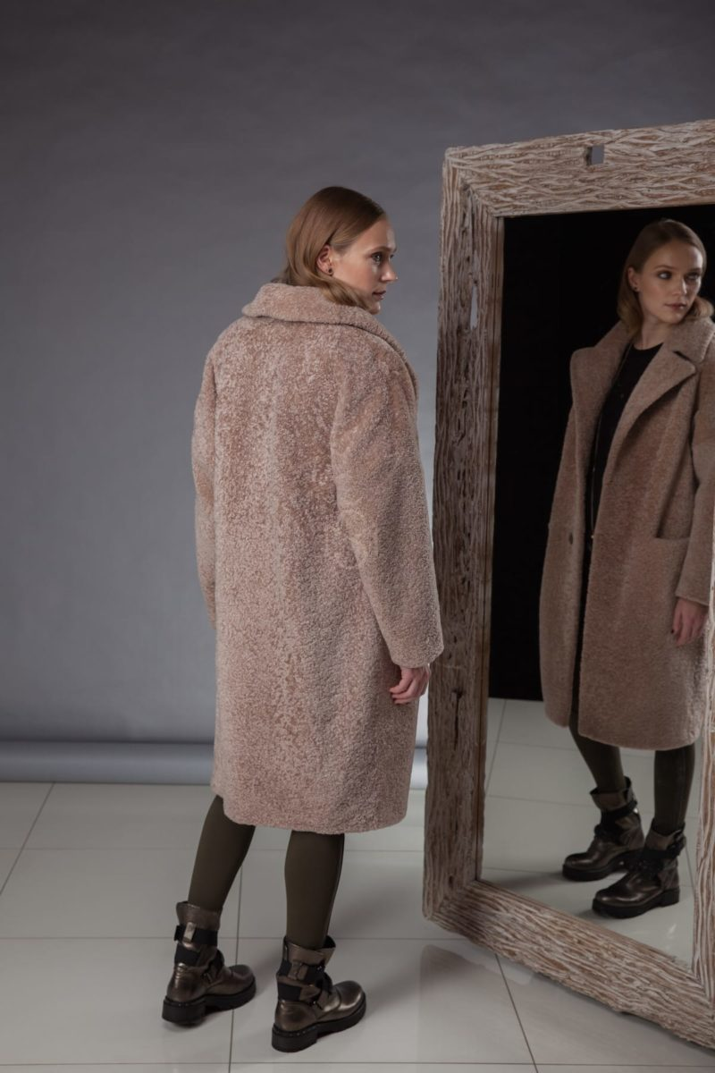 beige sheepskin teddy coat