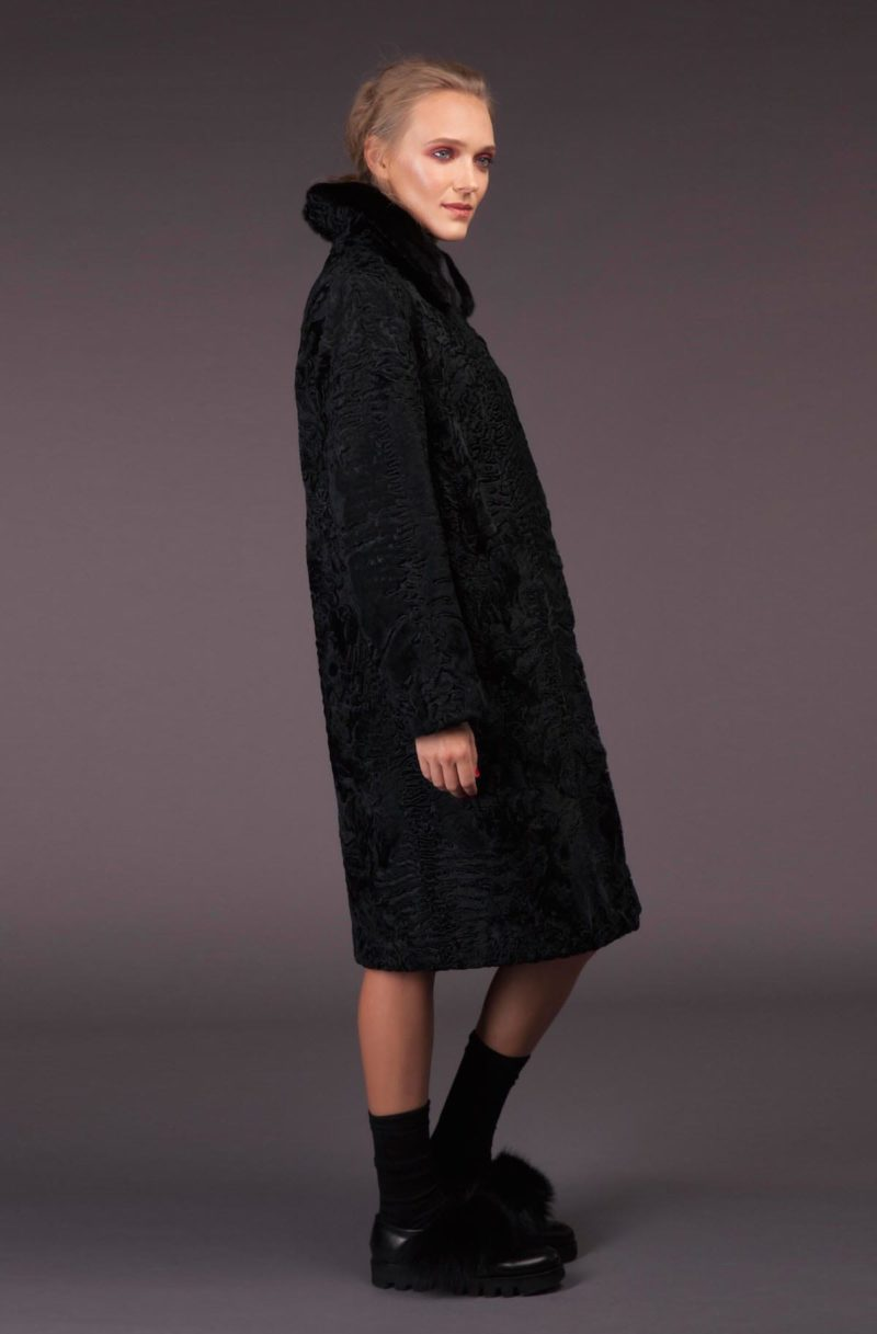 black astrakhan karakul fur coat with mink fur collar