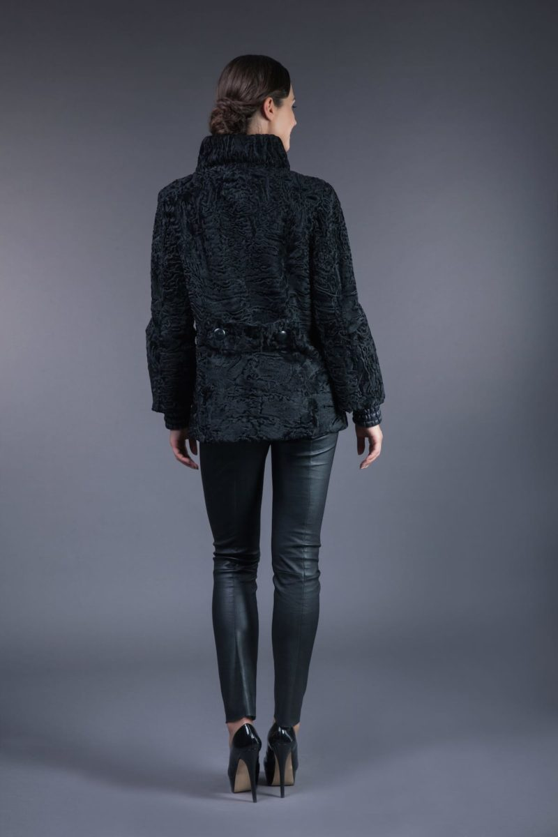 black astrakhan karakul fur jacket with high round collar